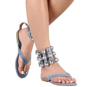 5b6263e9e Cape Robbin · Denim Open Toe Rhinestone Ankle Strap Flat Sandals.  16  34